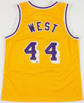 Basketball Collectibles:Uniforms, Jerry West Signed and Stat Inscribed Los Angeles Lakers Jersey....