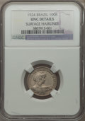Brazil, Brazil: Republic 100 Reis Pattern in copper nickel 1924 UNC Details(Surface Hairlines) NGC,...