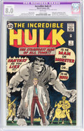 Silver Age (1956-1969):Superhero, The Incredible Hulk #1 (Marvel, 1962) CGC Apparent VF 8.0Slight/Moderate (B-2) White pages....