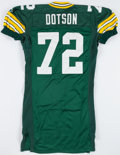 Football Collectibles:Uniforms, 1995 Earl Dotson Game Issued Green Bay Packers Jersey....