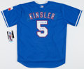 """Autographs:Jerseys, Ian Kinsler Signed Texas Rangers Jersey With """"4-15-09 6-6 Cycle Night"""" Inscription...."""