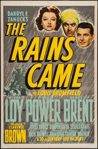"The Rains Came (20th Century Fox, 1939). One Sheet (27"" X 41"") Style B. Adventure"