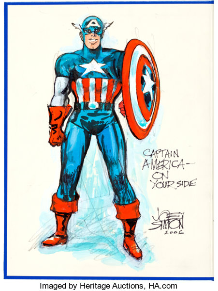 Joe Simon The Comic Book Makers with Captain America Color Sketch ...