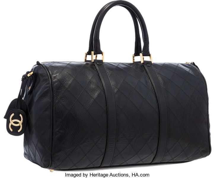 7aa0d3c20a8b Luxury Accessories:Travel/Trunks, Chanel Black Quilted Lambskin Leather  Boston Travel Bag.