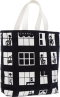 "Luxury Accessories:Bags, Chanel Black & White Canvas Window Tote Bag . Very GoodCondition . 17"" Width x 12"" Height x 5"" Depth . ..."