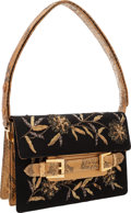 "Luxury Accessories:Bags, Fendi Black & Gold Beaded Silk Shoulder Bag with Python Accents. Very Good Condition . 9"" Width x 6"" Height x 1""Dept..."