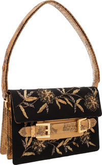 """Fendi Black & Gold Beaded Silk Shoulder Bag with Python Accents Very Good Condition 9"""" Width x"""