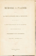 Books:World History, Alex[ander] Grailhe. Memoire a Plaider devant la cour Supreme dela Louisiane...New Orleans, 1852. First edition. Co...