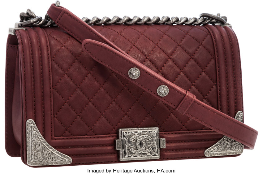 7fbe77a4c4 Luxury Accessories:Bags, Chanel Paris-Dallas Collection Burgundy Quilted  Leather Boy Bag.