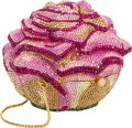 "Luxury Accessories:Bags, Judith Leiber Full Bead Pink Crystal Rose Minaudiere Evening Bag.Very Good to Excellent Condition. 4"" Width x 3.5""He..."