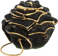 "Luxury Accessories:Bags, Judith Leiber Full Bead Black Crystal Rose Minaudiere Evening Bag.Very Good Condition. 4"" Width x 3.5"" Height x 4""De..."