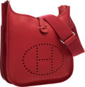 "Luxury Accessories:Bags, Hermes Rouge Garance Clemence Leather Evelyne III PM Bag withPalladium Hardware. Excellent Condition. 11.5 Width x 12""He..."
