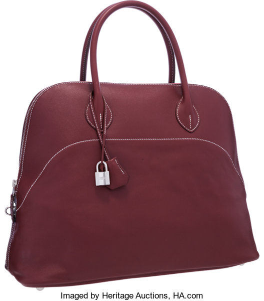 37ebad58a214 Hermes 40cm Rouge H Sikkim Leather Bolide Relax Bag with