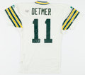 Football Collectibles:Uniforms, 1993 Ty Detmer Game Worn, Signed Green Bay Packers Jersey....