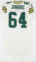 Football Collectibles:Uniforms, 1995 John Jurkovic Game Issued Green Bay Packers Jersey....