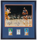 Basketball Collectibles:Photos, Walt Frazier, Dave DeBusschere and Jerry West Signed Display....