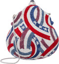 Luxury Accessories:Bags, Judith Leiber Limited Edition Full Bead Red, Silver & BlueCrystal Fourth of July Minaudiere Evening Bag . ExcellentCondi...