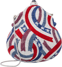 Judith Leiber Limited Edition Full Bead Red, Silver & Blue Crystal Fourth of July Minaudiere Evening Bag Excel