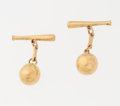 Baseball Collectibles:Others, Baseball and Bat 7 Karat Gold Cuff Links....