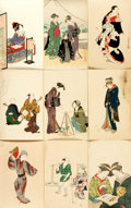 Miscellaneous:Postcards, [Japanese Postcards]. Group of 9 with Hand-Coloring. Tokyo: ShimbiShoin, ca. 1930's. Measure 5.5 x 3.5 inches. Some with st...