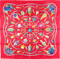 "Luxury Accessories:Accessories, Hermes 90cm Burgundy ""Qu'Import le Flacon,"" by Catherine BaschetSilk Scarf. Pristine Condition. 36"" Width x 36""Lengt..."