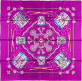 "Luxury Accessories:Accessories, Hermes 90cm Purple ""Les Tambours,"" by Joachim Metz Silk Scarf .Pristine Condition. 36"" Width x 36"" Length. ..."