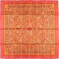 "Luxury Accessories:Accessories, Hermes 90cm Red & Orange ""Les Jardins d'Armenie,"" by KarenPetrossian Silk Scarf. Pristine Condition. 36"" Width x36"" ..."