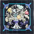 "Luxury Accessories:Accessories, Hermes 90cm Black & Blue ""Regina,"" by Leila Menchari SilkScarf. Pristine Condition. 36"" Width x 36"" Length...."