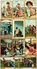 Miscellaneous:Postcards, [Postcards] Group of Eleven Gilt-Bordered Postcards DepictingFlirtatious Themes Circa 1910. Some used. General rubbing and ...