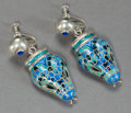 Silver Smalls:Other , PAIR OF MEXICAN SILVER AND BLUE ENAMEL SNAKE EARRINGS AFTER MARGOTDE TAXCO, circa 1950. Marks: f, HECHO EN MEXICO, (eag...(Total: 2 Items)