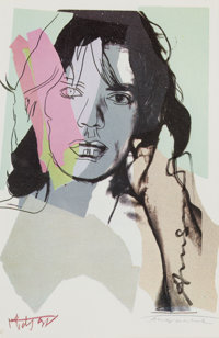 ANDY WARHOL (American, 1928-1987) Mick Jagger, signed reproduction Color print 6 x 4 inches (15.2