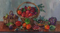 Fine Art - Painting, American:Contemporary   (1950 to present)  , CITA SCOTT (American, b. 1952). From a Santa Ynez Garden(Pomegranates and Persimmons), 1989. Gouache on paper. 23 x 40...