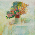 Fine Art - Painting, American:Contemporary   (1950 to present)  , MORTON KAISH (American, b. 1927). Summer Flowers, 1980. Oilon canvas. 25-3/4 x 25-3/4 inches (65.4 x 65.4 cm). Signed l...