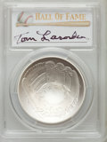 Baseball Collectibles:Others, 2014 Tom Lasorda Signed Baseball Hall of Fame Silver Dollar PCGSMS70 Coin. ...