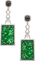 Estate Jewelry:Earrings, Jadeite Jade, Colored Diamond, Diamond, White Gold Earrings. ...
