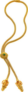 Estate Jewelry:Necklaces, Emerald, Ruby, Gold Necklace, Lalaounis. ...
