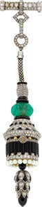 Estate Jewelry:Watches, Art Deco Swiss Lady's Diamond, Emerald, Cultured Pearl, Black Onyx, Enamel, Platinum, Gold Lapel Watch. ...