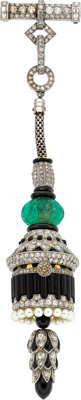 Art Deco Swiss Lady's Diamond, Emerald, Cultured Pearl, Black Onyx, Enamel, Platinum, Gold Lapel Watch