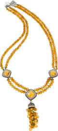 Estate Jewelry:Necklaces, Citrine, Diamond, Colored Diamond, White Gold Necklace. ...