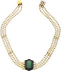 Estate Jewelry:Necklaces, Tourmaline, Diamond, Cultured Pearl, Gold Necklace. ...
