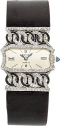 Estate Jewelry:Watches, Art Deco Swiss Lady's Diamond, Black Onyx, Platinum, Satin StrapWristwatch. ...