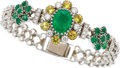 Estate Jewelry:Bracelets, Emerald, Sapphire, Diamond, White Gold Bracelet. ...