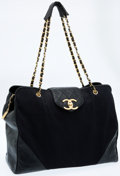 Luxury Accessories:Bags, Chanel Black Canvas & Lambskin Tote Bag. ...