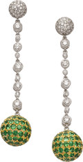 Estate Jewelry:Earrings, Tsavorite Garnet, Diamond, Gold Earrings, Eli Frei. ...