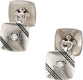 Estate Jewelry:Cufflinks, Art Deco Diamond, Platinum Cuff Links. ...