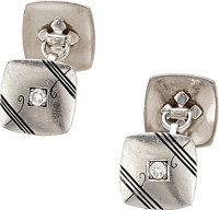 Art Deco Diamond, Platinum Cuff Links