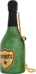 Luxury Accessories:Bags, Kathrine Baumann Limited Edition Full Bead Black & GreenCrystal Champagne Bottle Minaudiere Evening Bag, 12/500 .Excelle...