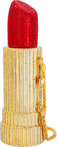 Luxury Accessories:Bags, Kathrine Baumann Limited Edition Full Bead Red & Silver CrystalLipstick Minaudiere Evening Bag, 7/500. Very Good toExcel...
