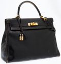 Luxury Accessories:Bags, Hermes 32cm Black Calf Box Leather Retourne Kelly Bag with Gold Hardware. ...