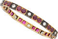 Estate Jewelry:Bracelets, Ruby, Diamond, Silver-Topped Gold Bracelet. ...